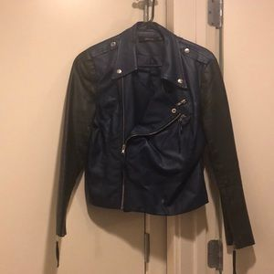 Navy Blue and Black Leather Jacket